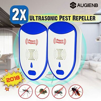 2X Pest Repeller Reject Ultrasonic Electronic Mouse Rat Mosquito Insect Control