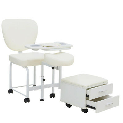 Manicure Pedicure Nail Station Salon Chair Beauty Table Desk Stool Spa 2 Drawers