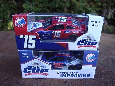 (2) NASCAR LOWES #15 & 16 Promotional Die Cast Cars- 1/64 scale by Action  NIP