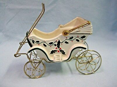 Vintage 1950's Napco Japan Christmas Porcelain & Metal Carriage Buggy Planter