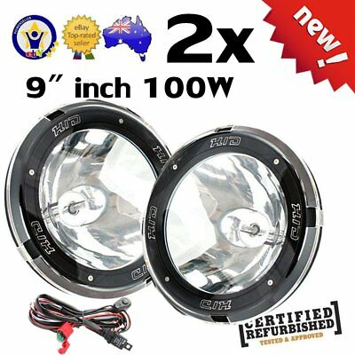 """Pair 9"""" Inch 12V 100W Hid Driving Lights Xenon Spotlight Offroad 4Wd SUV Ute OP"""