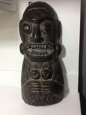 Vintage Carved Wooden mask hand made in Indonesia