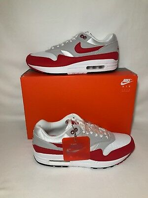 Nike Air Max 1 Anniversary Day, White/University Red, Men's Sz 8.5 (908375 103)