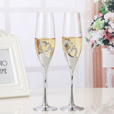 2PCS Wedding Crystal Toasting Champagne Futes Tall Glasses Cup Party Goblets