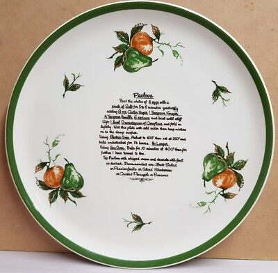 Vintage Ideal Ironstone Ware Pavlova Recipe Plate Made In Japan c1960s