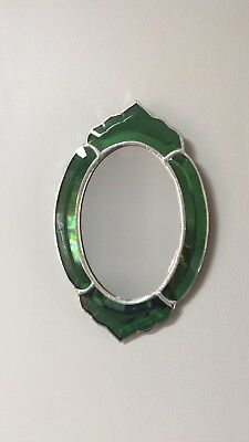 VINTAGE Mirror Leaded Green Colored Beveled  Glass Mirror BEAUTIFUL