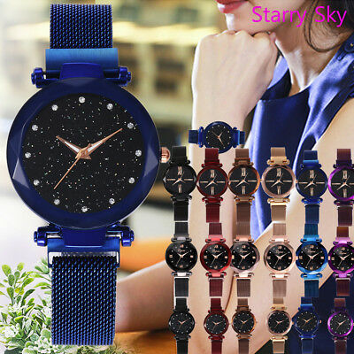 Fashion Starry Sky Stainless Steel Mesh Belt Watch Quartz Analog Watch Pretty