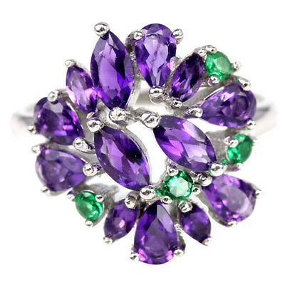 Natural Purple Amethyst & Green Chrome Diopside Sterling 925 Silver Ring Size 8