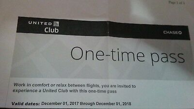 United Club Passes Chase Lounge One Time Pass Expire 4/16 or later E-Delivery