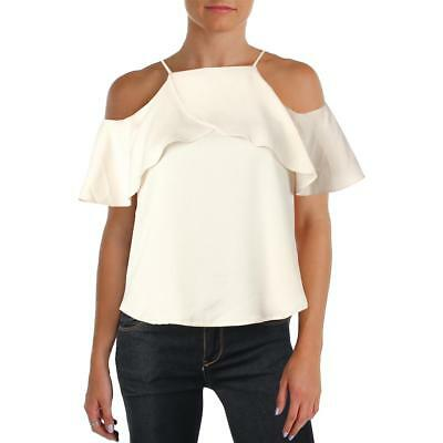 Design Lab Womens Beige Cold Shoulder Satin Ruffled Casual Top M BHFO 5871