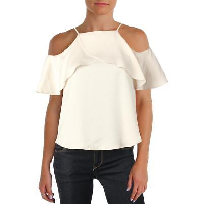 Design Lab Womens Beige Cold Shoulder Satin Ruffled Casual Top S BHFO 5863