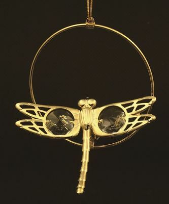 dragonfly -24k Gold Plated Figurine with Swarovski Crystals Ornament