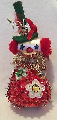 Vtg Handmade Beaded Sequin Jeweled Pin Juniper CLOWN Satin Ball Ornament by Gena