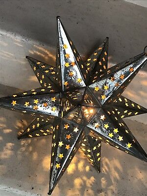 Vintage Punched Metal Tin Star Shaped  Lamp Mexico