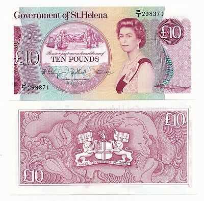 St. Helena 10 Pounds ND 1985 P. 8a QEII Note UNC