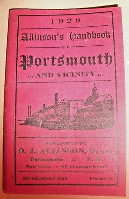 1929 Allinson's Handbook Of Portsmouth New Hampshire & Vicinity Souvenir Booklet