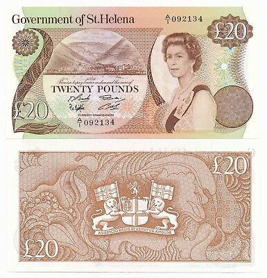 St. Helena 20 Pounds ND 1986  P. 10a QEII Note UNC
