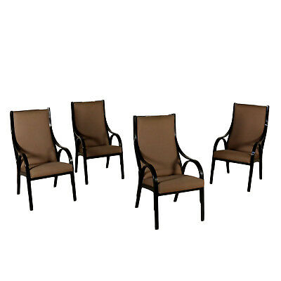 Cavour Armchairs Designed for Sim Lacquered Wood Vintage Italy 1980s