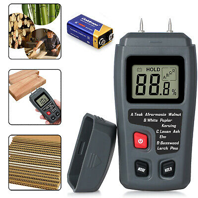 Digital LCD Moisture Tester Meter Firewood Humidity Damp Wood Detector + Battery