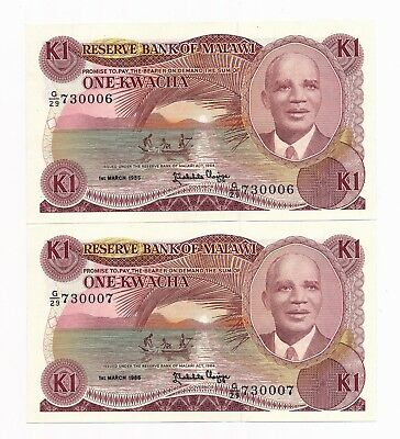 Malawi One Kwacha 1st March 1986 P. 10a Consecutive Pair UNC 730006 & 730007