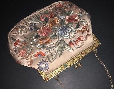Antique Chinese Hand Embroidered Silk Flowers Peony Jeweled Gilt Frame Hand Bag
