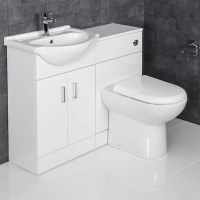 1050mm Toilet and Bathroom Vanity Unit Combined Basin Sink Furniture GlossWhite