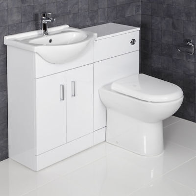1050mm Toilet and Bathroom Vanity Unit Combined Basin Sink Furniture GlossWhite3