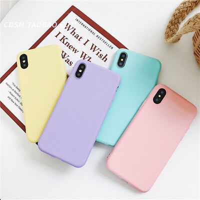 new style a3bdd 03cf2 FOR IPHONE XS MAX XR 6 7 8Plus Freshness Simple Pure Color Candy Cheap Soft  Case
