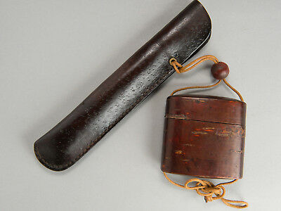 Antique cherry bark work shaped-Inro tobacco pouch & smorking pipe portable case