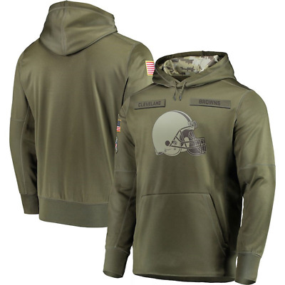 Men's Cleveland Browns Olive Salute to Service Sideline Therma Hoodie 2018