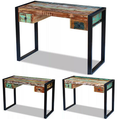 Vintage Wooden Home Office Desk Table With 2 Drawers Rustic Solid Reclaimed UK