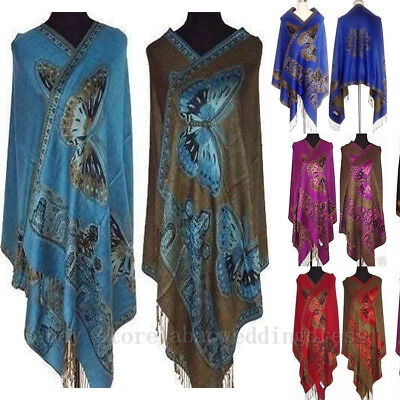 Stock Chinese Lady Double-Side Butterfly Pashmina Scarf Wraps Shawls Cape Shrugs