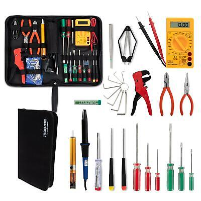 Electricians Work Tools Kit Case Pouch Pliers Screwdrivers Soldering Iron Meter