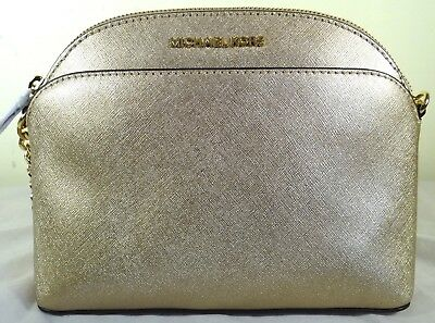 MICHAEL KORS EMMY Pale Gold Saffiano Leather Crossbody Bag