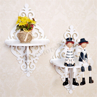 2X White Chic Filigree Style Wall Shelf Flower Display Candle Stand Holder Home