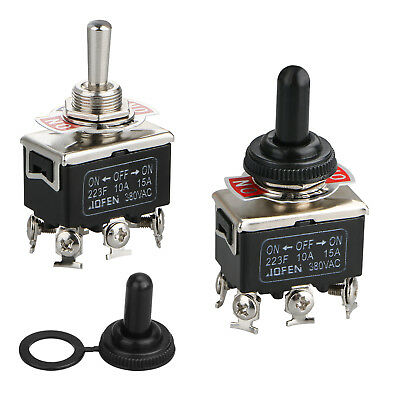 2PCS 6Pin Heavy Duty Boot Cap DPDT Momentary Toggle Switch ON/OFF Amp Waterproof