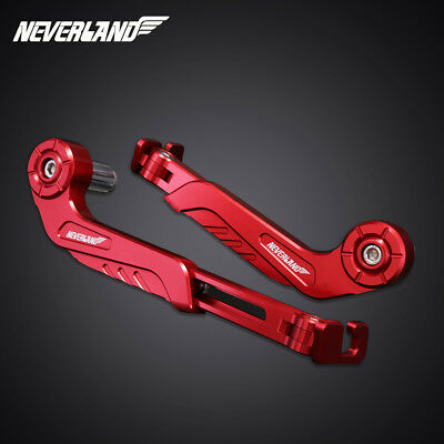 """CNC Red Levers Guard Protector Mirror 22mm 7/8"""" Bar End Brake Clutch Handguards"""
