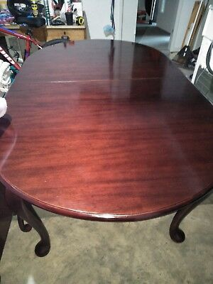 Mahogany Dining Table and Chairs (green coloured material)