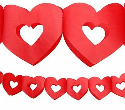 Red Heart Paper Garland Valentines Day Wedding Love Engagement 3m Hearts Party