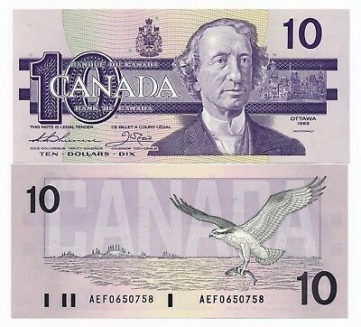 CANADA 10 Dollars $10 1989 P. .96a UNC Note Thiessen & Crow
