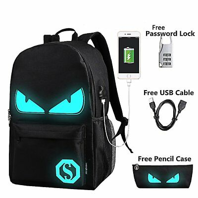 Anime Luminous Backpack Noctilucent School Bags Daypack USB chargeing port Lapto