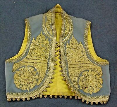 Childs Elaborate Vintage wool, silk, gold embroidered Waistcoat, early 20 C