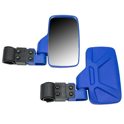 Blue Side View Mirror Set UTV Offroad High Impact Break-Away Large Wide View