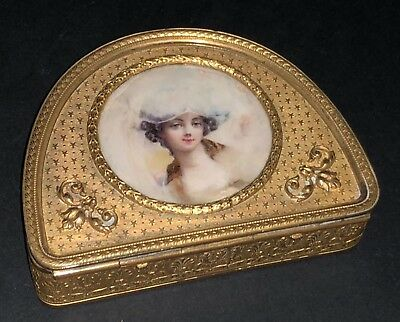 Fine Antique French Gilt Metal Ormolu Hand Painted Miniature Wooman Portrait Box