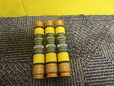 NEW LOT OF 3 BUSSMANN LOW-PEAK TIME DELAY FUSE LPS-RK-60SP 60A AMP 600Vac