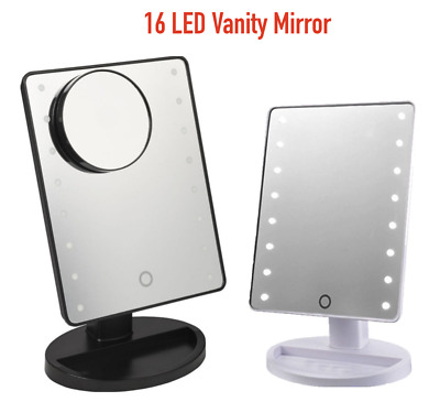5x MAGNIFYING TOUCH SCREEN 16 LED VANITY COSMETIC MAKE-UP MIRROR W/ MAKE UP TRAY