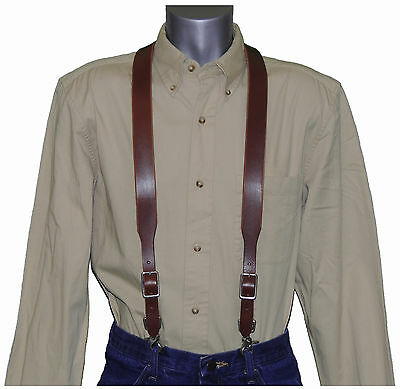 Brown Leather Suspenders with scissor snaps