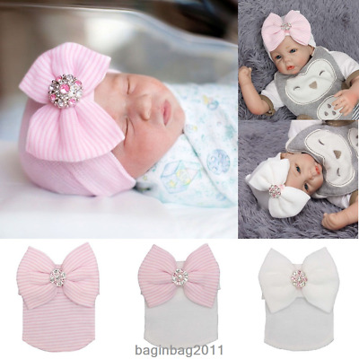 Soft Baby Girl Infant Child Striped Hat With Bow Cap Newborn Beanie Diomand New