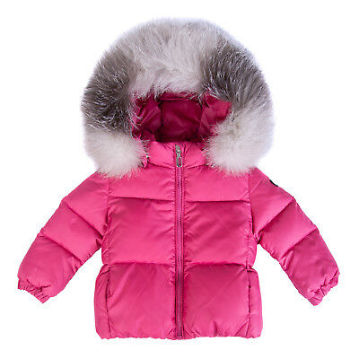MOON BOOT Down Quilted Jacket Size 6-9M Detachable Fox Fur Trim & Hood RRP €289