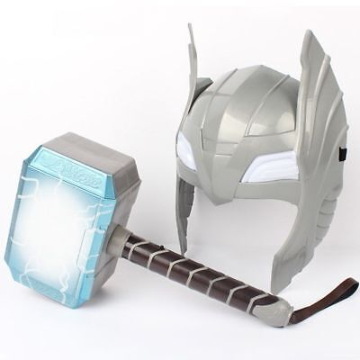 Kids LED Glowing And Sounds Hammer LED Mask For Thor Action Figures Cosplay Toys